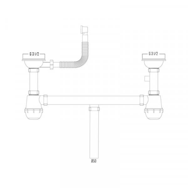 Сифон Imperial 02 двойной для кухни, выпуск 3 1/2