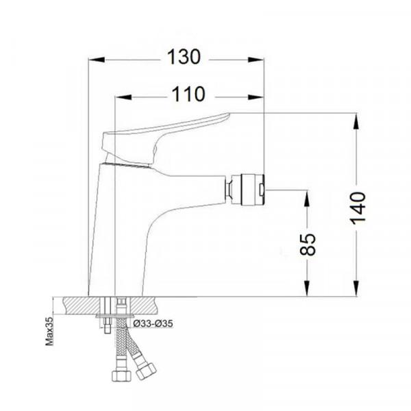 Смеситель для биде Qtap Loft CRM 001A
