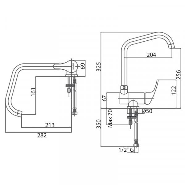 Смеситель для кухни Bianchi Star LVMSTR201100CRM с откидным изливом