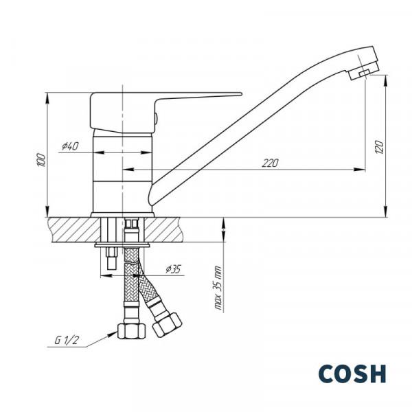Смеситель для кухни Cosh (CRM)/S-01-002