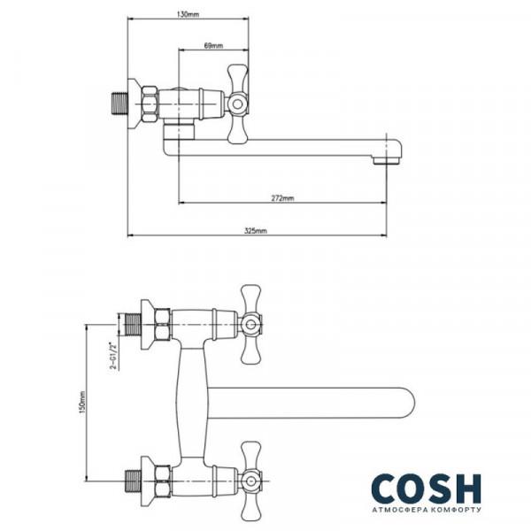 Смеситель для кухни Cosh (CRM)/S-21-361
