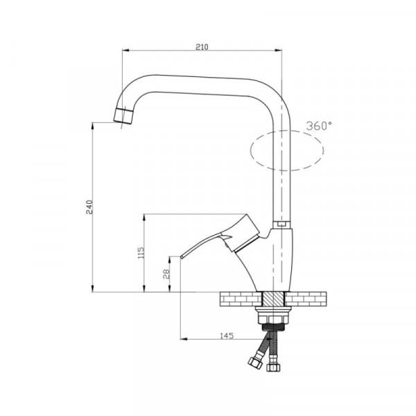 Смеситель для кухни GF (CRM)/S-04-007AF