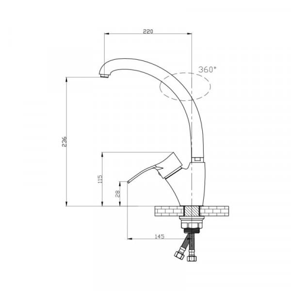 Смеситель для кухни GF (CRM)/S-04-007F