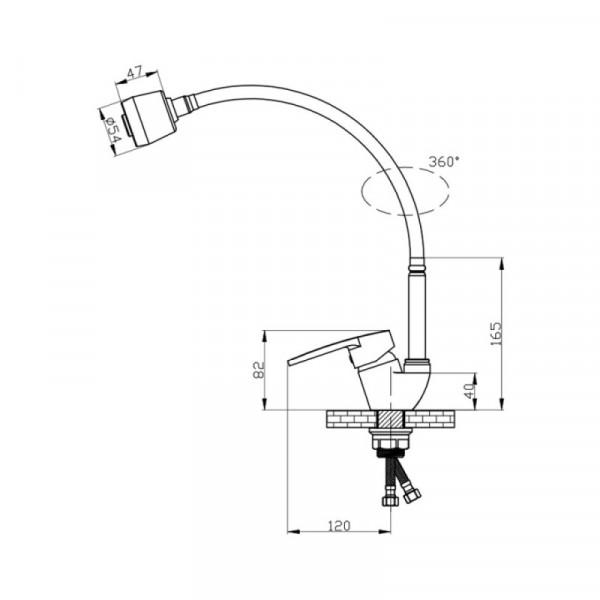 Смеситель для кухни GF (CRM)/S-04-008-1 EF