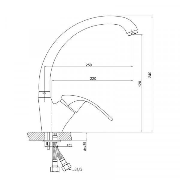 Смеситель для кухни GF (CRM)/S-12-008F