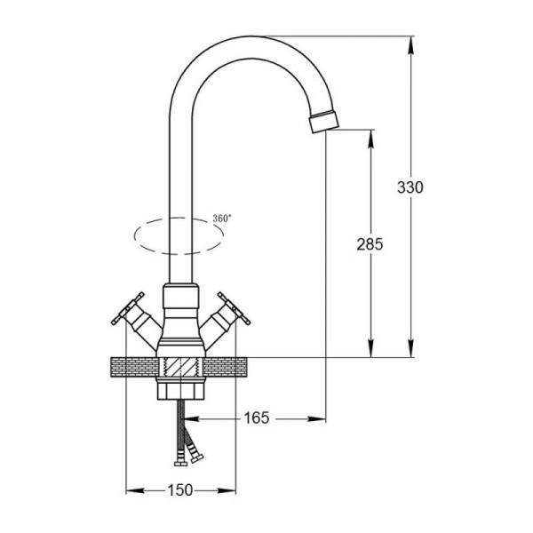 Смеситель для кухни GF (CRM)/S-21-278F