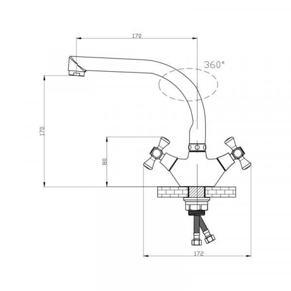 Смеситель для кухни GF (CRM)/S-22-276F