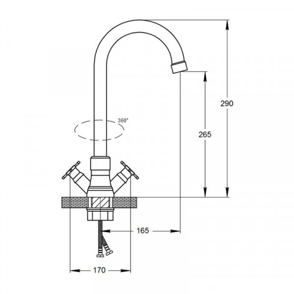 Смеситель для кухни GF (CRM)/S-22-278F