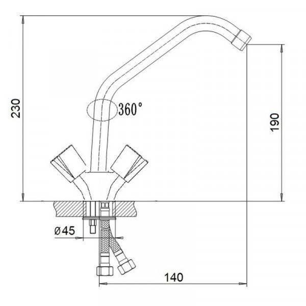Смеситель для кухни GF (CRM)/S-24-271
