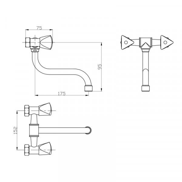 Смеситель для кухни GF (CRM)/S-24-361S