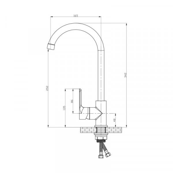 Смеситель для кухни GF (WCR)/S-07-007F