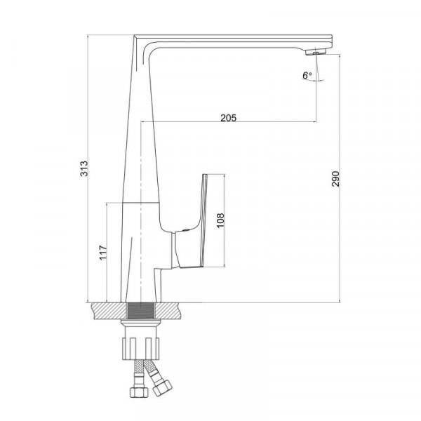 Смеситель для кухонной мойки Qtap Estet CRM 007F