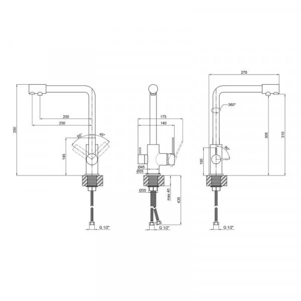 Смеситель для кухни с подключением к фильтру Qtap Form CRM 007F-2