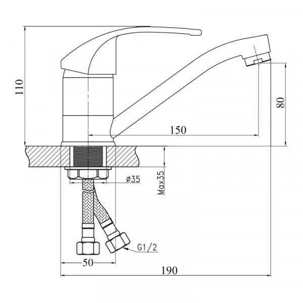 Смеситель для кухни Touch-Z Mars 003М