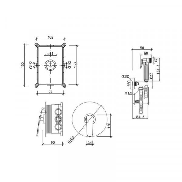 Смеситель для гигиенического душа Qtap Inspai-Varius CRM V10440101