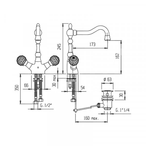 Смеситель для раковины Bianchi Boheme LVBBOM 10360A CRM