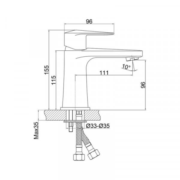 Смеситель для умывальника Qtap Estet CRM 001