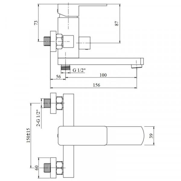 Смеситель для ванны Imperial 33-006N-01