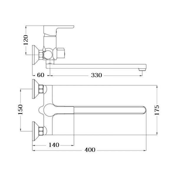 Смеситель для ванны Touch-Z J-Lex 005 NEW