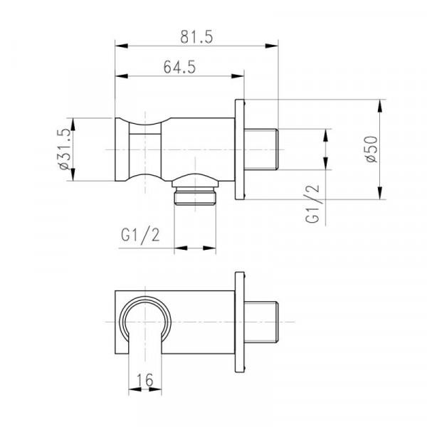 Встраиваемый переходник для биде Qtap BH030 CRM