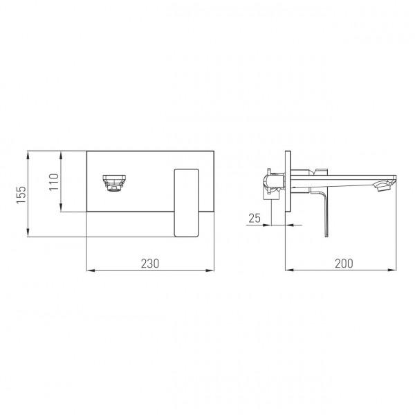 Настенный смеситель для раковины, черный Volle De la Noche 10-40-1300-black