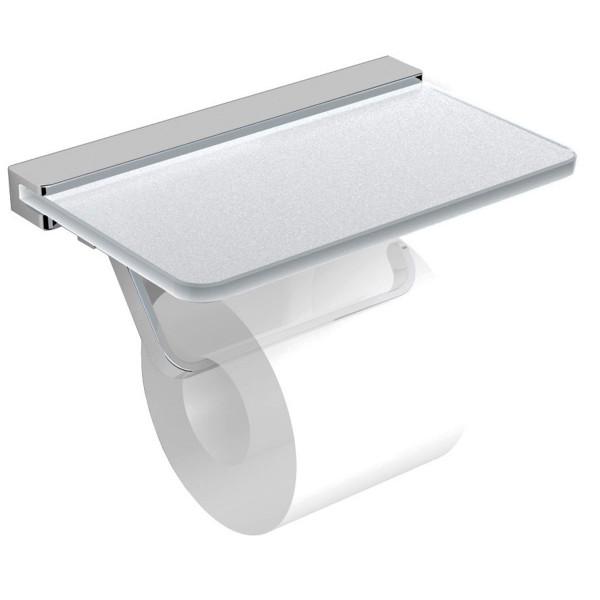 Держатель туалетной бумаги с полочкой матовое стекло Volle Teo 15-88-446