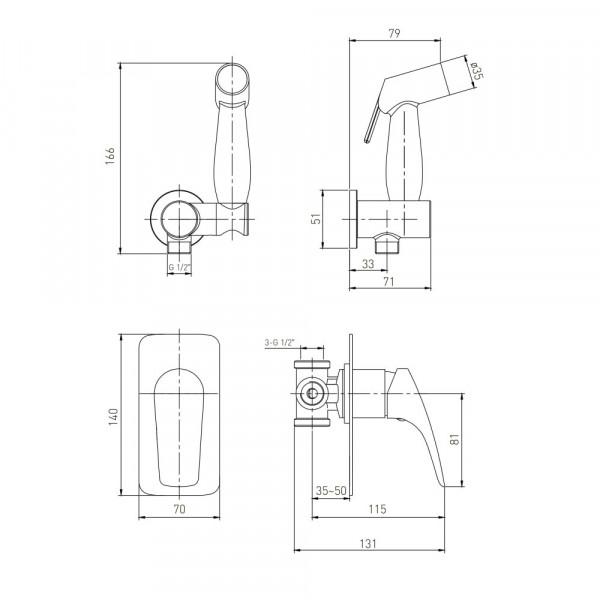 Смеситель скрытого монтажа с гигиеническим душем Volle Orlando 15195200