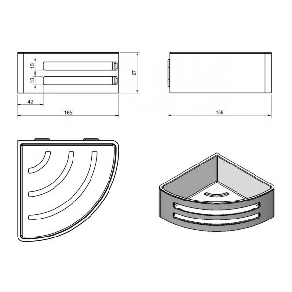 Угловая душевая полочка, с пластиковой вставкой Volle Teo15-88-756W