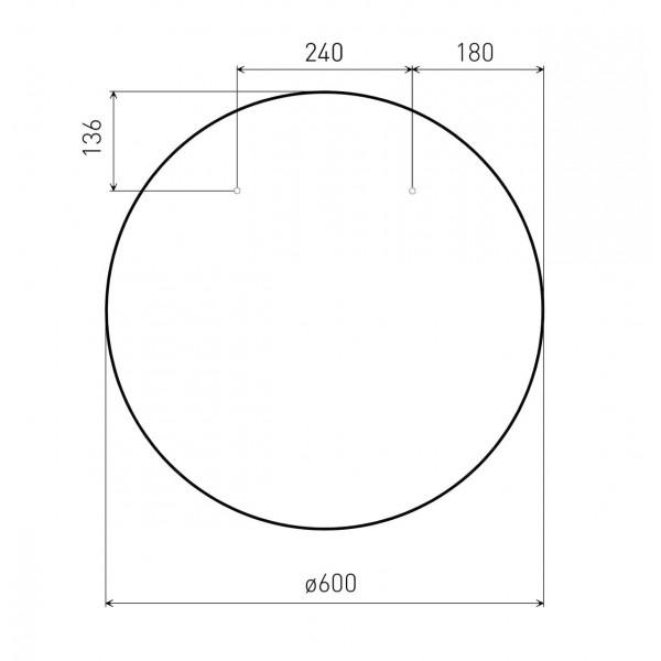 Зеркало круглое 60*60см на шлифованной нержавеющей раме, с контурной белой подсветкой Volle 16-06-999
