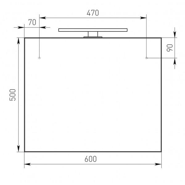 Зеркало прямоугольное 50*60см с LED светильником Volle 16-08-808