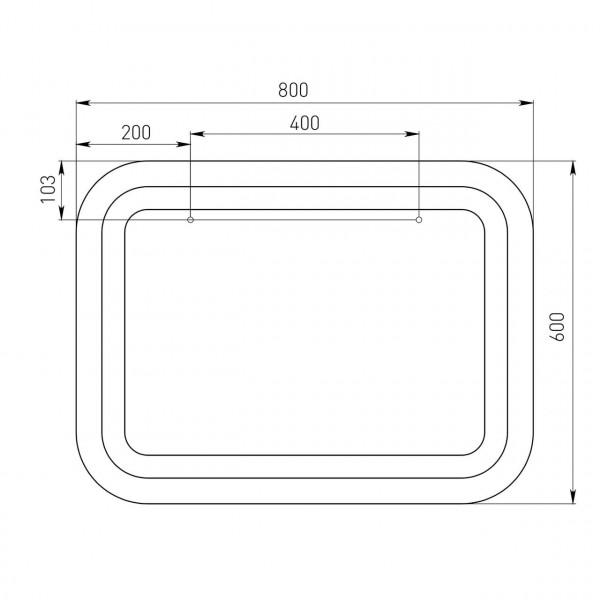 Зеркало прямоугольное 60*80см со светодиодной подсветкой Volle 16-46-656