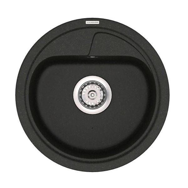 Кухонная мойка из кварцевого камня круглая Vankor Polo PMR 01.45 Black