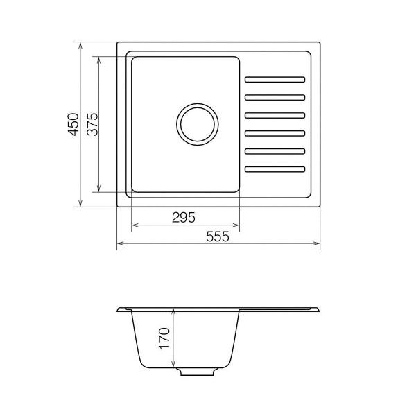 Кухонная мойка из кварцевого камня прямоугольная Vankor Lira LMP 02.55 Vanilla