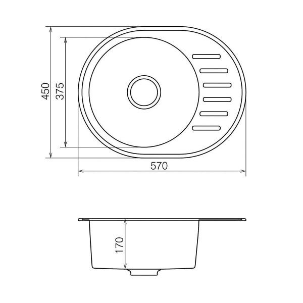 Кухонная мойка из кварцевого камня овальная Vankor Lira LMO 02.57 Vanilla