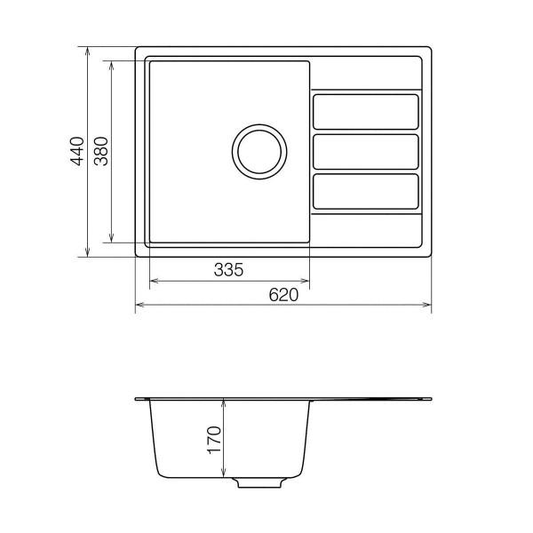 Кухонная мойка из кварцевого камня прямоугольная Vankor Easy EMP 02.62 Sahara