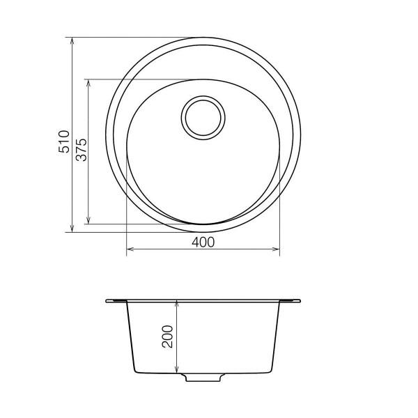Кухонная мойка из кварцевого камня круглая Vankor Sity SMR 01.50 Vanilla