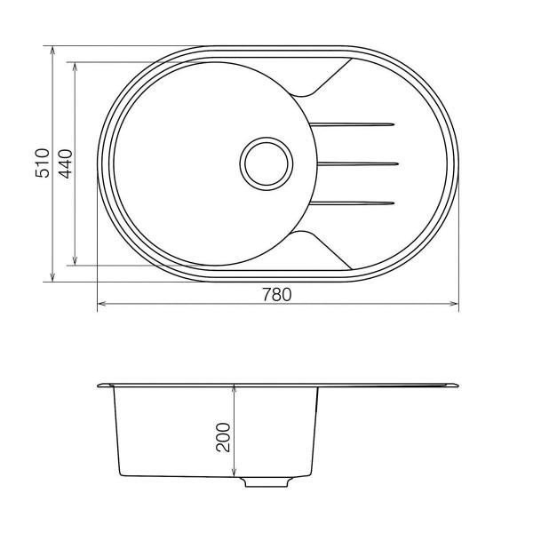 Кухонная мойка из кварцевого камня овальная Vankor Sity SMO 02.78 Vanilla