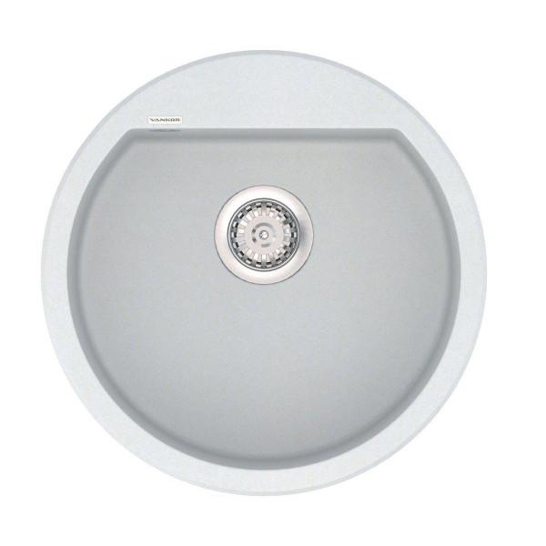 Кухонная мойка из кварцевого камня круглая Vankor Tera TMR 01.50 Vanilla
