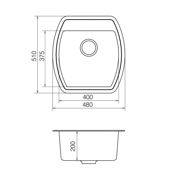 Кухонная мойка из кварцевого камня квадратная Vankor Norton NMP 01.48 Sahara