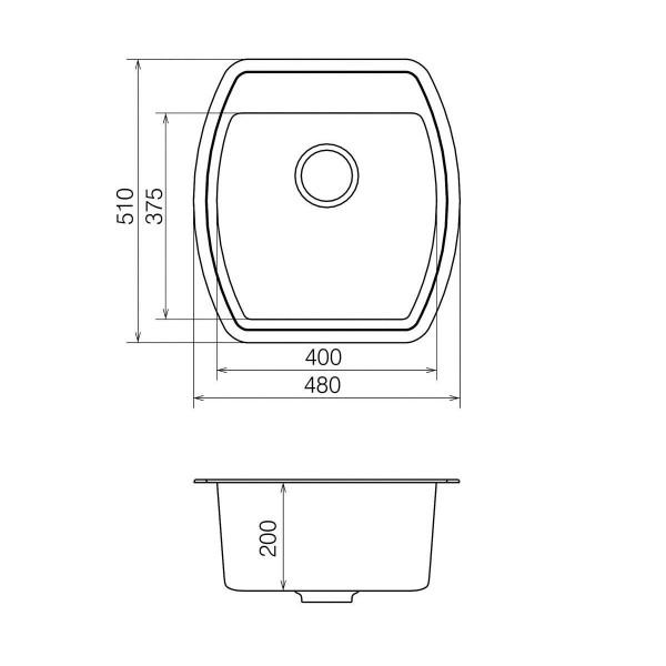 Кухонная мойка из кварцевого камня квадратная Vankor Norton NMP 01.48 Vanilla