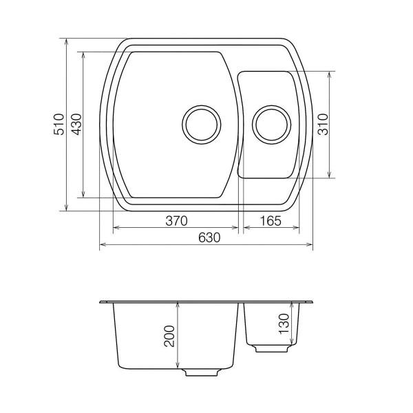 Кухонная мойка из кварцевого камня прямоугольная на полторы чаши Vankor Norton NMP 03.63 Vanilla