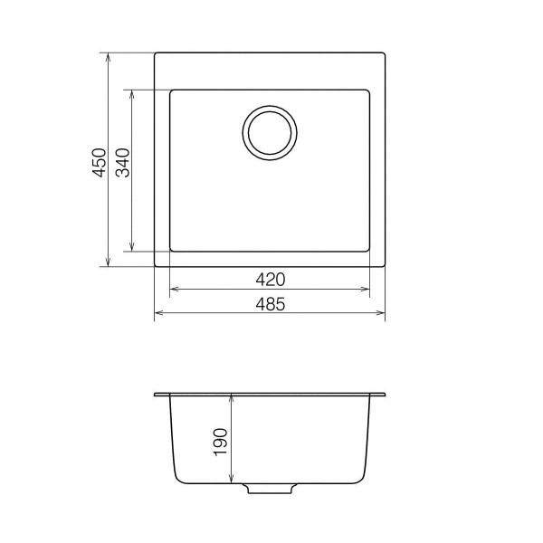 Кухонная мойка из кварцевого камня квадратная Vankor Orman OMP 01.49 Sahara