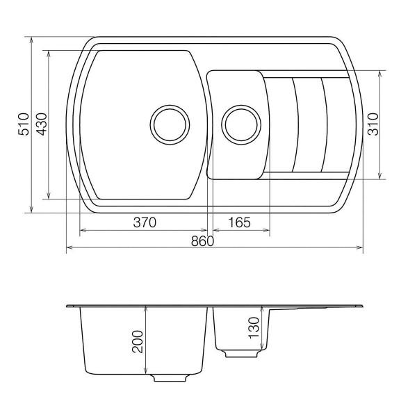 Кухонная мойка из кварцевого камня прямоугольная на полторы чаши Vankor Norton NMP 04.86 Vanilla