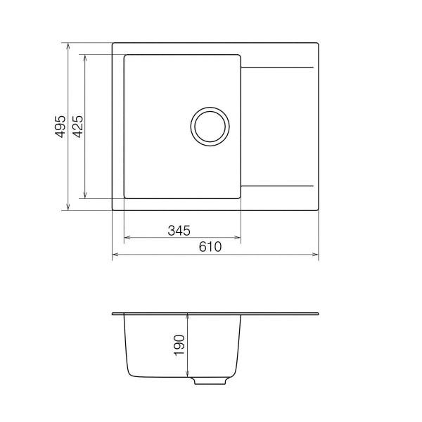 Кухонная мойка из кварцевого камня прямоугольная Vankor Orman OMP 02.61 Vanilla