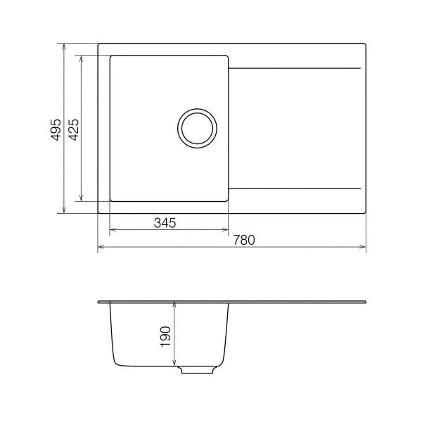 Кухонная мойка из кварцевого камня прямоугольная Vankor Orman OMP 02.78 Vanilla