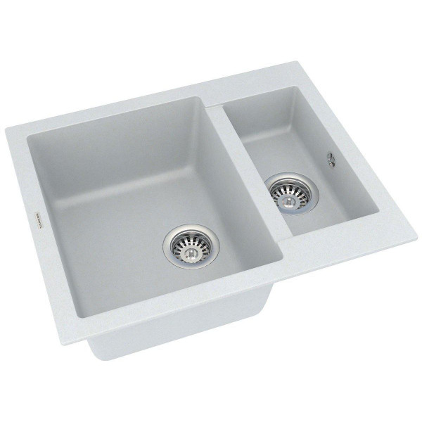 Кухонная мойка из кварцевого камня прямоугольная на полторы чаши Vankor Orman OMP 03.61 Vanilla