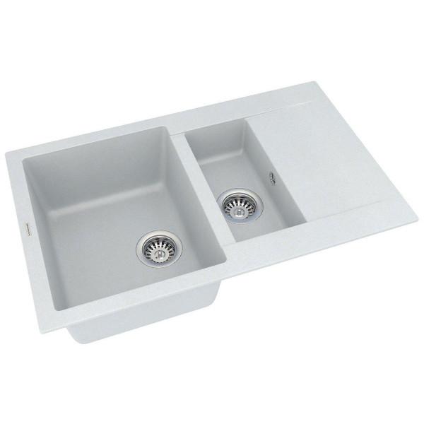 Кухонная мойка из кварцевого камня прямоугольная на полторы чаши Vankor Orman OMP 04.80 Vanilla