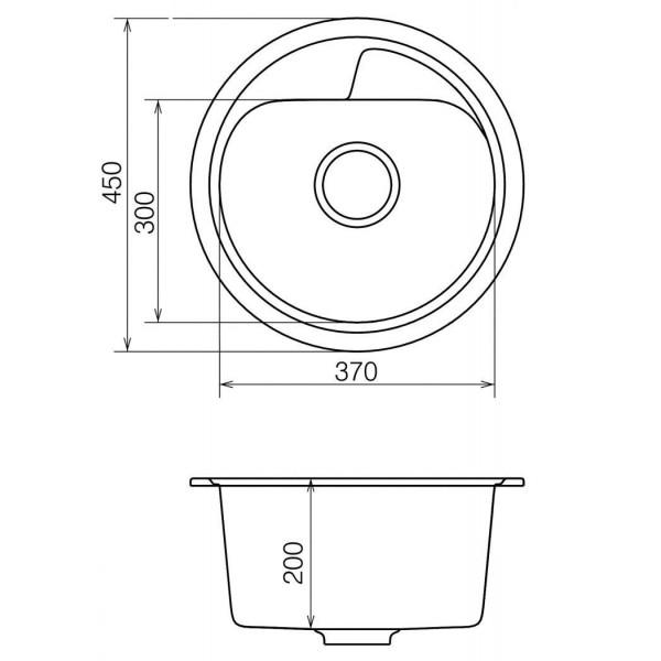 Кухонная мойка из кварцевого камня круглая Vankor Polo PMR 01.45 Gray
