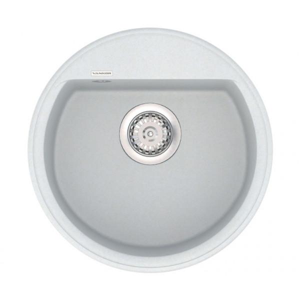 Кухонная мойка из кварцевого камня круглая Vankor Easy EMR 01.45 Vanilla