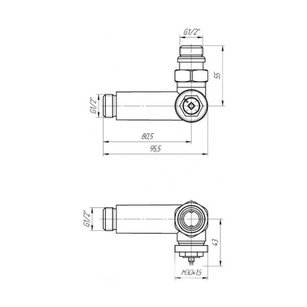 Марио комплект кранов с термоголовкой 4820111354399